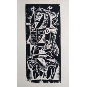 Silvio Pléticos - Xilogravura - Medidas 35 x 15 cm