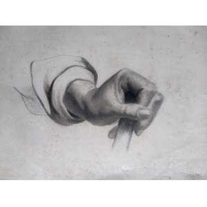 Grafite - Estudo de mão sem assinatura - Medidas 30 x 40 cm