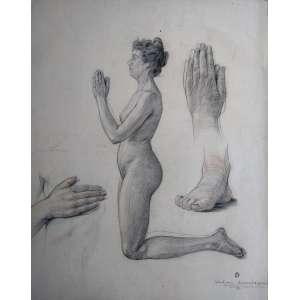 Schetsen drievuldigheid beeldheuwwerk - Grafite - Estudo de mãos, pés e nú - Medidas 70 x 50 cm