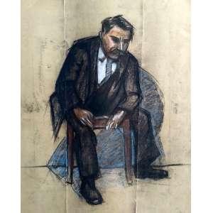 Homem sentado- Mista sobre papel - Medidas 70 x 50 cm