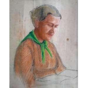 Mulher com livro - Mista sobre papel - Medidas 65 x 50 cm