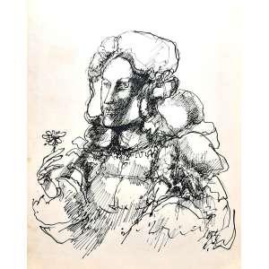 MARCELO GRASSMANN - Desenho a nanquim - Medidas 46 x 36 - Não assinado