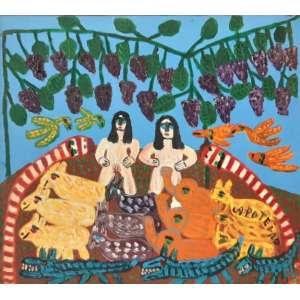 Antonio Poteiro - Adão e Eva no Paraíso - Óleo sobre tela com medidas 51 x 46 cm - Assinado e datado de 1987