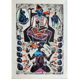 Carybé - Porque egun voltou ao mundo dos vivos e assombrou xangô - Litogravura original assinada pelo artista - Edição 134/200 - Medidas 65 x 48 cm