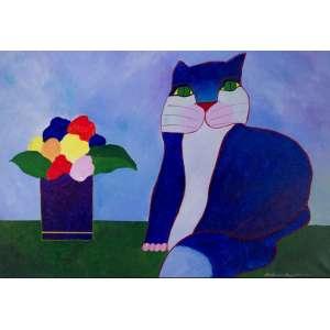 ALDEMIR MARTINS - Gato azul com vaso de flores - acrílico sobre tela - Medidas: 60 x 80 cm - Assinatura: canto inferior direito e dorso - 2000 - Com Certificado de Autenticidade emitido pelo Estúdio Aldemir Martins.