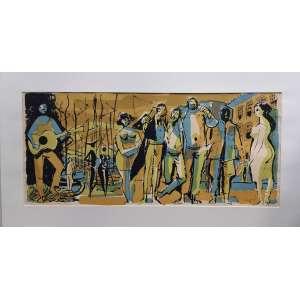 Carybé - Gravura assinada e datada de 1978 - Medidas 34 x 74 cm