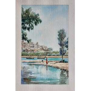 Artista não identificado - Vista de Coimbra - Aquarela - Medidas 25 x 15 cm - assinatura ilegível no cid