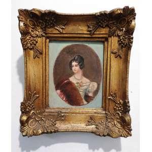 Pintura sobre cartão representando Dama - Medidas 12 x 10 cm - Com moldura 17,5 x 15,5 cm