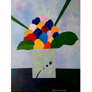 ALDEMIR MARTINS - Vaso com flores - acrílico sobre tela - Medidas: 80 x 60 - assinado no canto inferior direito e no verso - São Paulo 2000 - Com Certificado de Autenticidade emitido pelo Estúdio Aldemir Martins