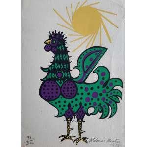 ALDEMIR MARTINS - Serigrafia de 1955 (cartão de natal) representando galo - edição 92/200 - Assinado
