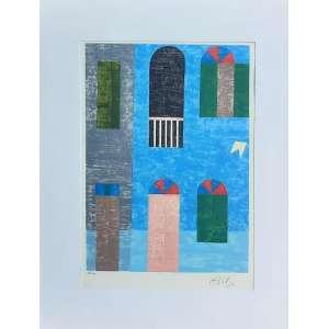 ALFREDO VOLPI - Fachada Azul - serigrafia - edição 38/100 - Medidas 37 x 26 cm - Assinado no canto inferior direito