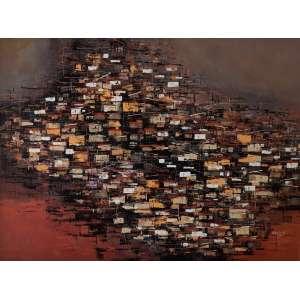 Domicio Pedroso - Favela - Acrílica sobre tela colada em placa - Medidas 54 x 73 cm - Assinado e datado de 1989