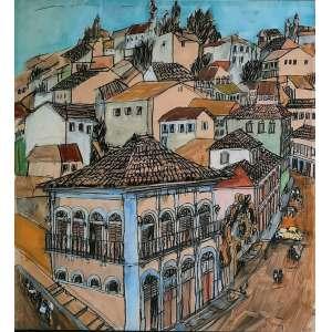 Poty Lazzarotto - técnica mista sobre cartão - Medidas 50 x 46 cm - assinado no canto inferior direito