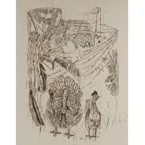 CÂNDIDO PORTINARI - gravura a água-forte - Medidas 36 x 28 cm - Ilustração original nº 17 do Livro Menino de Engenho de José Lins Rego - Com Certificado de autenticidade do Projeto Portinari nº 1627A, registrado no projeto sob o código FCO 820/CR 4628.