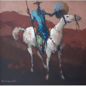 ARMANDO ROMANELLI - Dom Quixote - óleo sobre placa - Medidas 20 x 20 cm - Moldura de madeira 47 x 47 cm - Assinado e datado 1980