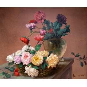 Isrisney Bosco - Rosas e Peônias - Óleo sobre tela - Medidas 60 x 70 cm - Assinado no cid