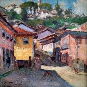 Leopoldo Gotuzzo - Rua do Pilar - Ouro Preto - óleo sobre tela - Medidas 30 x 30 cm - 1940 - Assinado frete e verso