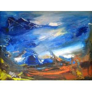 Wega Nery - Vendadaval - óleo sobre tela - Medidas 30 x 40 cm - Assinado no cie - No verso selo da Oscar Seraphico Galeria de Arte