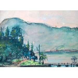Bruno Lechowski - Aquarela - Medidas 13 x 18,5 cm - Assinado e datado de 1930