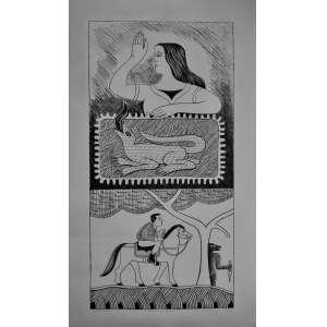 Gilvan SAMICO – Litogravura – assinada, numerada 17/25 e datada de 1977 -Título: 0 Bordado e o Dragão. Medidas 86x52cm