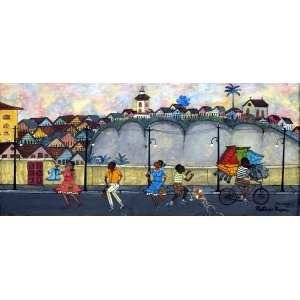 HEITOR DOS PRAZERES - Pintura óleo sobre placa; Título: Morro da Favela; Assinatura: CID; Local e data: Rio 16/08/1964; Medidas: 37x81 cm, medida com moldura: 58x100 cm; apresenta Certificado de Autenticidade de Heitor dos Prazeres.
