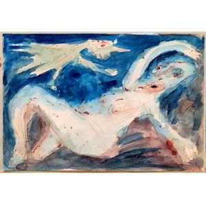 IVAN SERPA - Aquarela - assinado e datado de 1963 - Medidas 9.5 x 14 cm (Medidas da moldura 33 x 30 cm)<br /> Nota: Esta obra está reproduzida no Catálogo da Bolsa de Arte no Leilão realizado em 06/Fev. 2014 - Lote 59 - Excelente estado de conservação