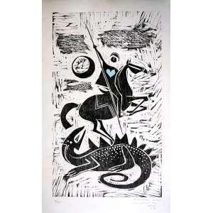 CARYBÉ -Rara Xilografia deste artistadatada de 1965. Medidas : 60x38cm. Esta edição: 5/45. Apresenta dedicatória - Ótimo estado de conservação