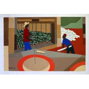 DJANIRA - Trabalhadores da Cana - Serigrafia executada por Mário de La Parra, este exemplar o de No 34, assinado pela artista (vide informação no anexo) em 1966. Reproduzido no catálogo de acervos da CEFque está no anexo e acompanha a obra. Medidas 32 x 49 cm. Excelente estado de conservação.