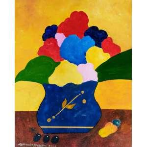 Aldemir Martins - vaso com flores - acrílica sobre tela - medidas 50 x 40 cm - assinado e datado de 2003 - com certificado de autenticidade emitido pelo Studio Aldemir Martins