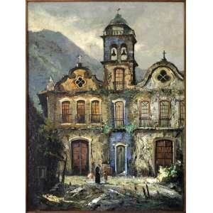 """DURVAL PEREIRA– """"Ouro Preto""""- Pintura - óleo sobre tela, assinado, datado de 1972 . Medidas: 120 x 90 cm - Obra procedente de importante coleção particular."""