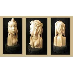 Escultura em Marfim africano - jovem com tranças. Base em bois de fer - Dimensões: 12 X 6,5 X 5 cm