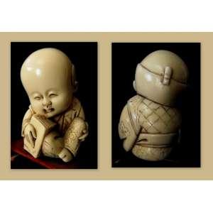 Okimono em Marfim chinês (Buda criança) Dimensões: 7 X 5 cm
