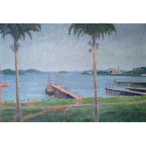 João Voiski - Porto de Antonina - óleo sobre madeira - Medidas 28 x 42 cm - Assinado e datado de 1923