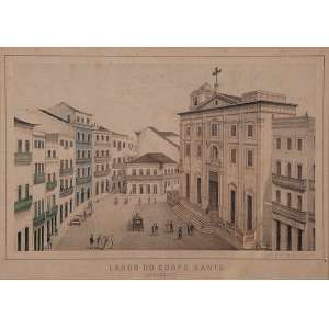 FRANZ HEINRICH CARLS - 35 X 25 CM. LITHOGRAFIA (1827-1909). VISTA DOS CASARÕES DE RECIFE. A.C.I.E. CIRCA 1878- ARTISTA SUÍÇO CONSIDERADO O MELHOR IMPRESSOR LITÓGRAFO DA HISTÓRIA DE PERNAMBUCO.