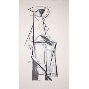 ALDEMIR MARTINS - 1,40 X 79 - TIST - 1959 - ACIE - MULHER SENTADA - OBRA REPRODUZIDA NO LIVRO DO ARTISTA