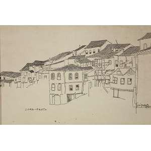 Alberto da Veiga Guignard - Nanquim sobre papel, 25x40cm.,ass. Inf. Direito, 1948