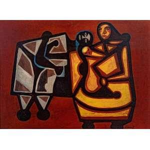 Emiliano Di Cavalcanti - Maternidade - 50 x 70 cm - Óleo Sobre Cartão - Acid - 1955 - Ex. coleção Aldemir Martins