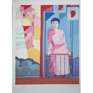 Cicero Dias - mulher na varanda - 75 x 55 - Serigrafia 190/250 - Sem Moldura
