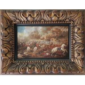 Autor não identificado - Cena de batalha - 17,5 x 27,5 cm - Óleo sobre madeira - Obs.: Material danificado e com marcas