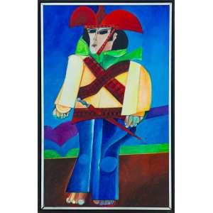 ALDEMIR MARTINS - 60 x 37 cm - ACRILICO SOBRE TELA - 1970 - ACID - CANGACEIRO - <br /><br />(Acompanha foto do artista com a obra)