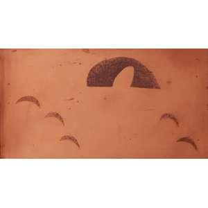 Alfredo Volpi - Sereia 3. Matriz de gravura em cobre, 37x69,5 cm, déc 80. Com certificado do editor<br />