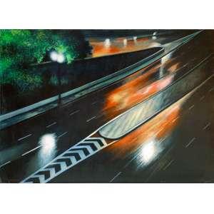 Gregorio Gruber - Vista noturna de São Paulo. Óleo sobre tela, 100x140 cm, 1982, A.C.I.E.<br />
