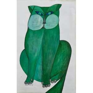 Aldemir Martins - Gato verde. Nanquim e guache sobre papel, 49x31,5, 1967, A.C.I.E. Com moldura e certificado do Instituto<br />