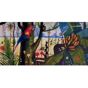 Candido Portinari - Flora e fauna brasileira. Giclée sobre tela, 100x200 cm, sem data, sem assinatura. Com moldura. Apresenta pequeno risco<br />