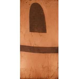 Alfredo Volpi - Fachada 2. Matriz de gravura em cobre, 68,5x34,5 cm, déc 80. Com certficado do editor de gravuras do Volpi