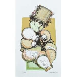 Alexandre Rapoport - Trompetista - 45-100. Serigrafia, 49,5x28,5 cm, 1993, A.C.I.D. Sem moldura