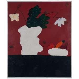ANGELO DE AQUINO - Vaso de Flores, fundo<br />Carmin, Frutas e Legumes, 1985 - Acrílica liquitex e<br />argila s/ tela<br />Ass. verso - Localizado e datado, 1985 - 120 x 100