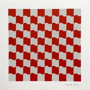Ramón Cáceres - Quadrados vermelhos - 16-45. Serigrafia, 50x50 cm, sem data, A.C.I.D. Sem moldura