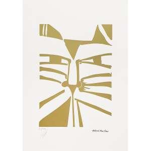 Aldemir Martins - Gato dourado - 62-100. Serigrafia, 50x35 cm, sem data, A.CI.D. Semmoldura