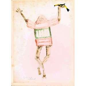 Clóvis Graciano - Homem com pássaro. Monotipia e guache sobre papel, 34,5x26 cm, 1968, A.C.I.E. Sem moldura